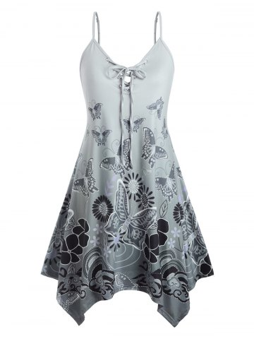 Plus Size Butterfly Print Lace Up Swing Dress