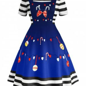 Plus Size Christmas Print Vintage Swing Dress