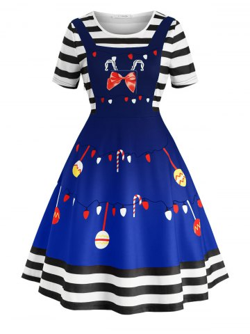 Plus Size Christmas Print Vintage Swing Dress