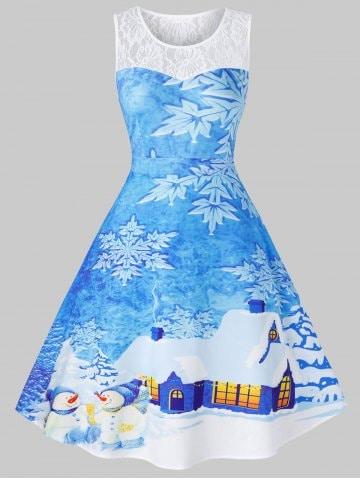 Plus Size Christmas Snowflake House Print Vintage Swing Dress