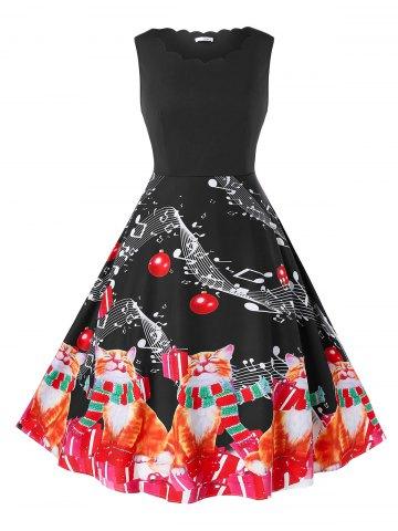 Plus Size Christmas Vintage Cat Print Swing Dress