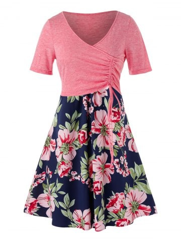 Plus Size Cinched Top and Floral Cami Dress