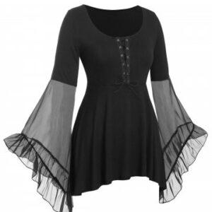 Plus Size Flare Sleeve Lace Up Gothic T Shirt