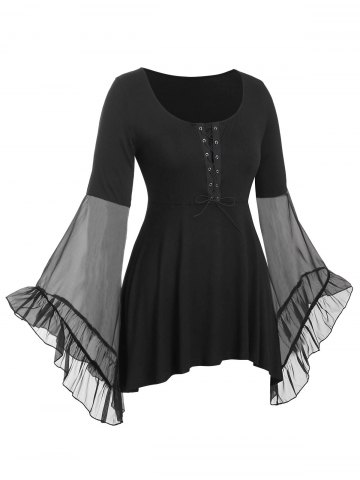 Plus Size Flare Sleeve Lace Up Gothic T Shirt