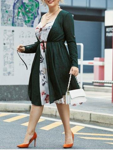 Plus Size Floral Cami Dress With Longline Cardigan
