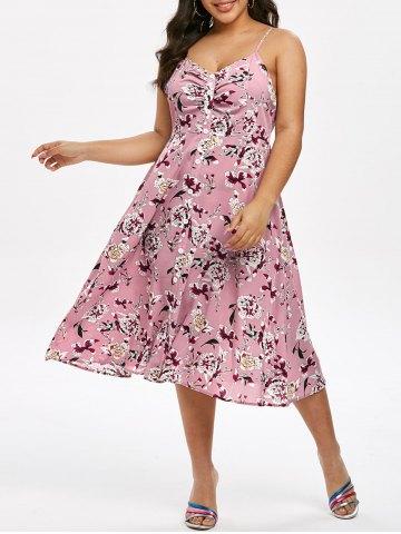 Plus Size Floral Print Midi Cami Dress