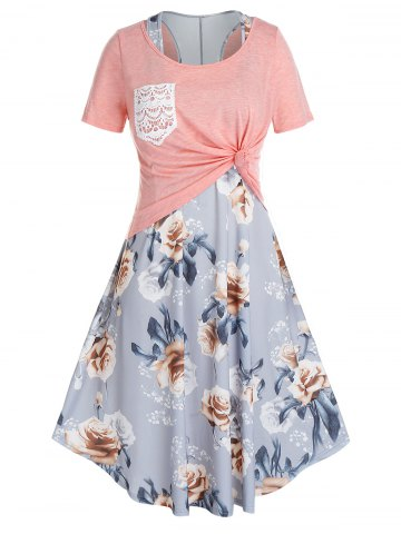 Plus Size Floral Racerback Swing Dress With Knotted Tee Set