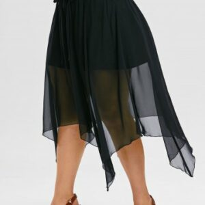 Plus Size Gothic Handkerchief Lace Up Mesh Overlay Skirt