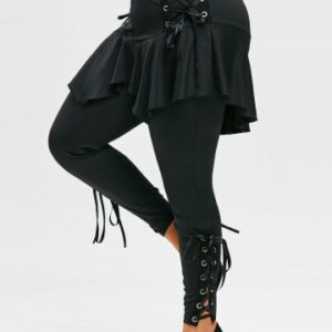 Plus Size Gothic Lace Up Skirted Pants