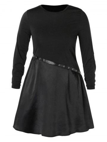 Plus Size Grommet Two Tone Swing Dress