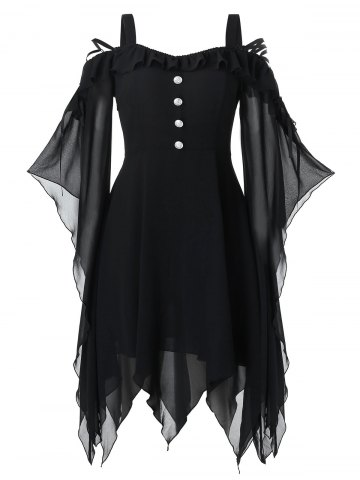 Plus Size Halloween Butterfly Sleeve Lace Up Handkerchief Gothic Dress