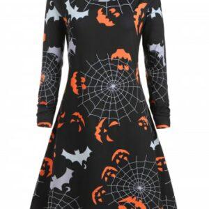 Plus Size Halloween Pumpkin Spider Web Print Swing Dress