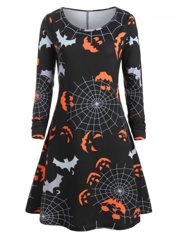 Plus Size Halloween Pumpkin Spider Web Print Swing Dress