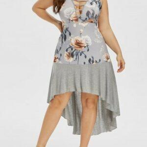 Plus Size High Low Lattice Cut Floral Print Cami Dress