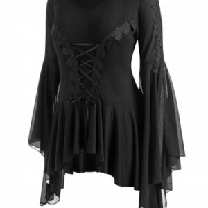 Plus Size Lace Applique Lace up Voluminous Sleeve Gothic Top