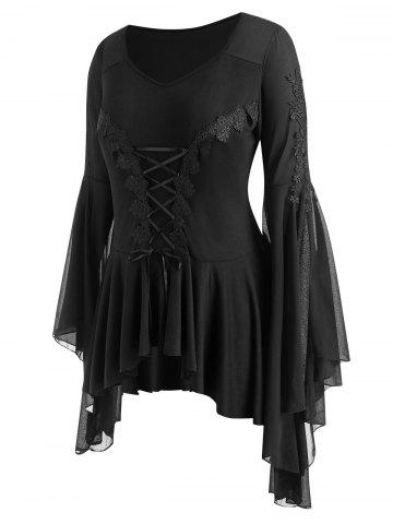 Plus Size Lace Applique Lace up Voluminous Sleeve Gothic Top
