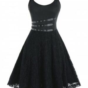 Plus Size Lace Backless Grommet A Line Cami Dress