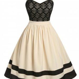 Plus Size Lace Flower Striped A Line Cami Backless Dress