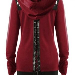 Plus Size Lace Up Gothic Zip Up Hoodie