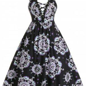Plus Size Lattice Skull Print Guipure Lace A Line Cami Dress