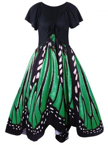 Plus Size Low Cut Butterfly Print Swing Dress