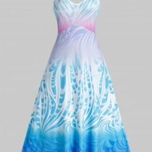 Plus Size Print Backless A Line Long Cami Dress