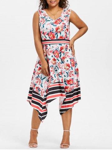 Plus Size Printed Asymmetrical Swing Dress