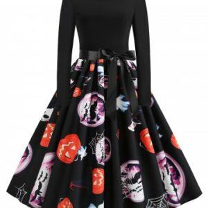 Plus Size Pumpkin Ghost Printed Halloween Retro Swing Dress