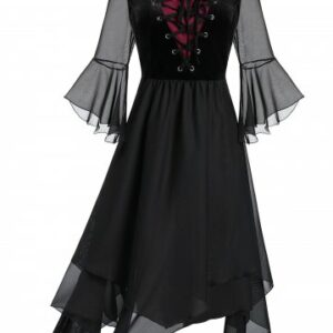 Plus Size Sheer Mesh Layered Lace Up Handkerchief Gothic Dress