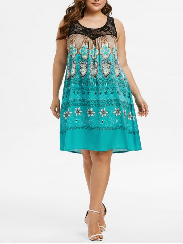 Plus Size Tribal Print Lace Insert Swing Dress