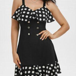 Polka Dot Print Button Flounce Cami A Line Dress