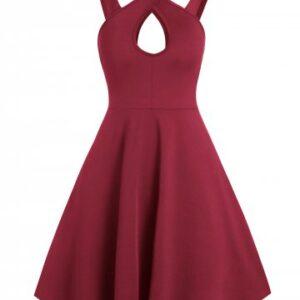 Pure Color Keyhole Cami A Line Dress