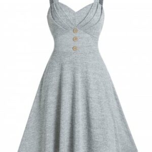 Pure Color Pleated Cami A Line Dress