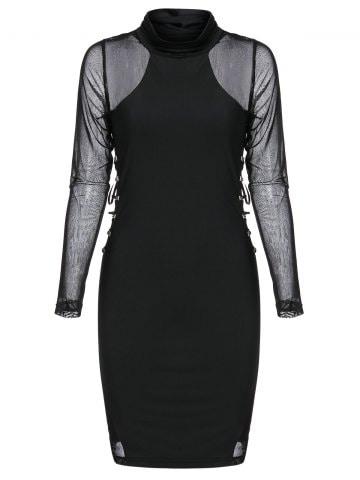 Rivet Embellished Lace up Mesh Insert Mini Gothic Bodycon Dress