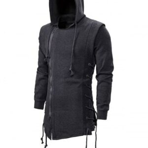 Side Lace Up Fleece Gothic Hoodie