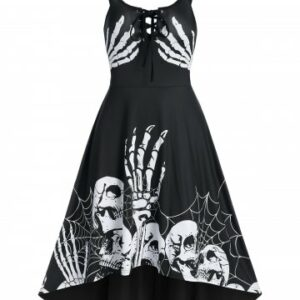 Skeleton Pattern Lace Up High Low Gothic Dress