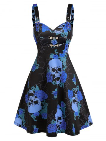 Skull Floral Print Chain Cami A Line Dress