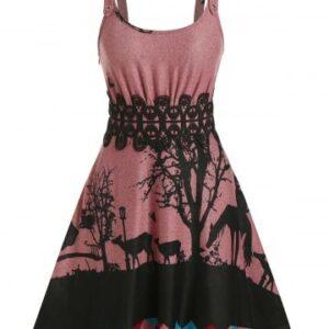 Sleeveless Animals Print Lace Panel Gothic Sweater Dress