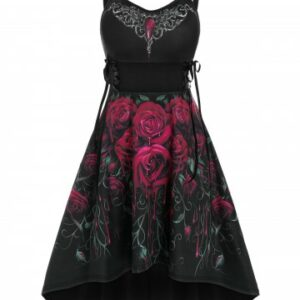 Sleeveless Flower Print Lace up High Low Gothic Dress
