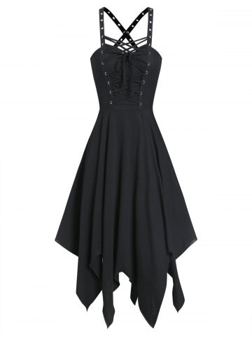 Sleeveless Lace up Front Handkerchief Gothic Dress