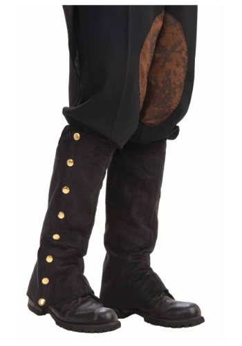 Steampunk Black Suede Spats for Adults