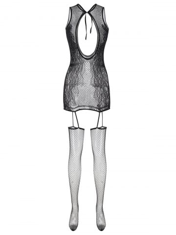 Tie Back Fishnet Cut Out Plus Size Lingerie Body Stocking