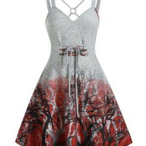 Tree Print Crisscross Lace Up Cami A Line Dress