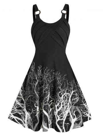 Tree Print Dip Dye Cami A Line Dress
