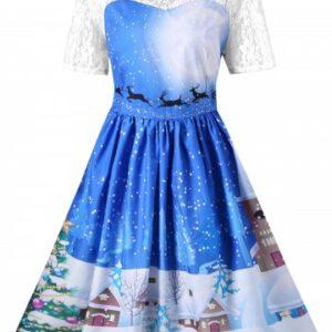 Vintage Christmas Graphic Lace Yoke Swing Dress
