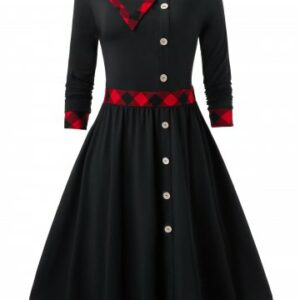 Vintage Mock Buttons Plaid Trim Swing Dress