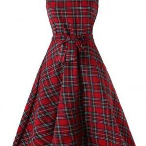 Vintage Tartan Mid Swing Dress
