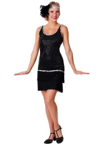 Black Sequin & Fringe Plus Size Flapper Costume for Women