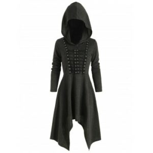 Gothic Hooded Lace Up Handkerchief Dress