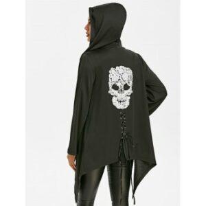 Halloween Asymmetric Skull Lace Gothic Jacket